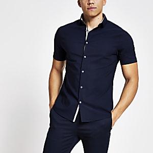 Marineblauw slim-fit overhemd met textuur