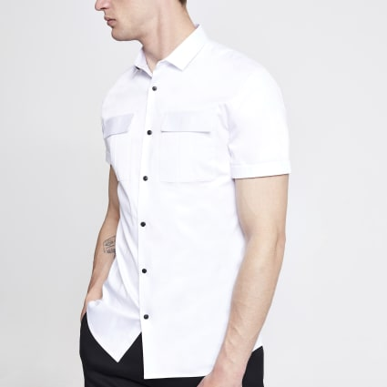 White slim fit utility shirt