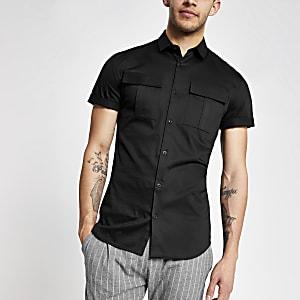Zwart slim-fit utility overhemd