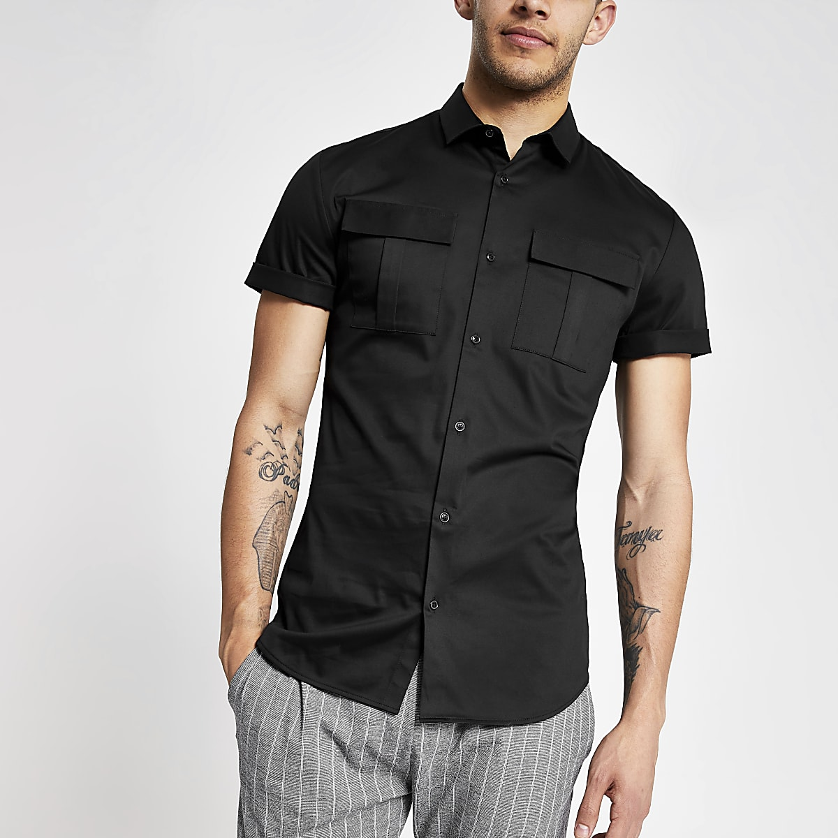 Black slim fit utility shirt