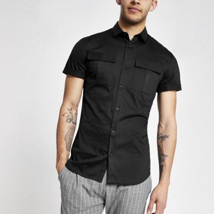 Black slim fit utility shirt