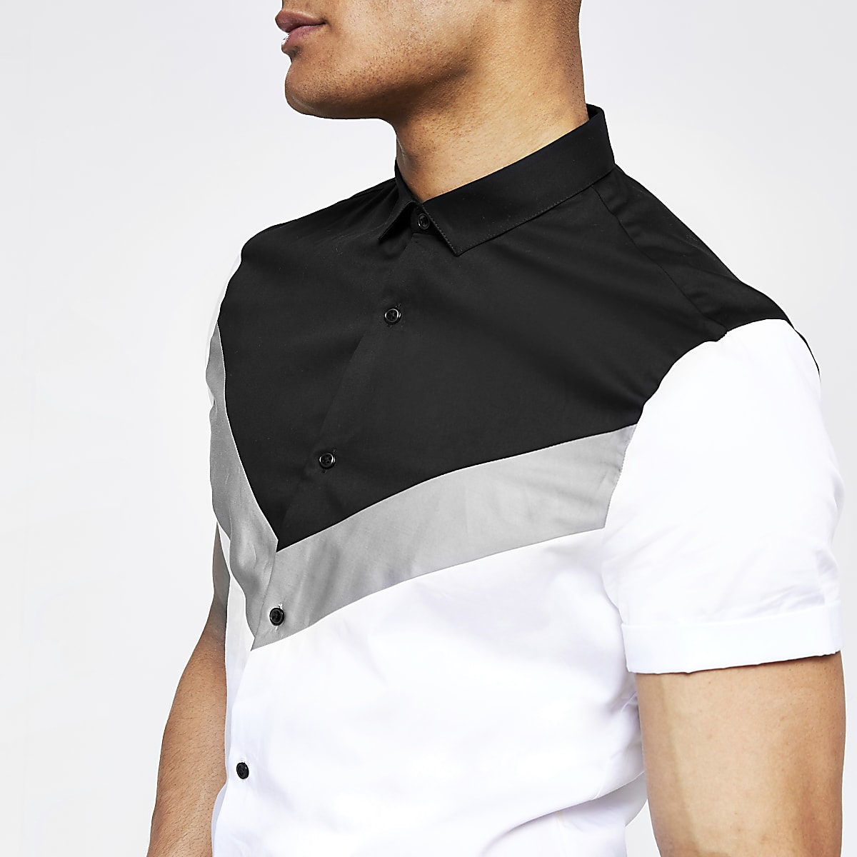White chevron slim fit short sleeve shirt