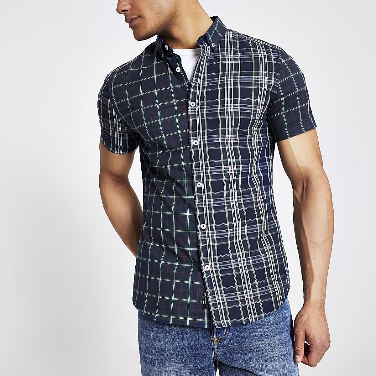 Marineblauw geruit slim-fit overhemd met korte mouwen