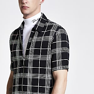 Black neon check zip up shirt