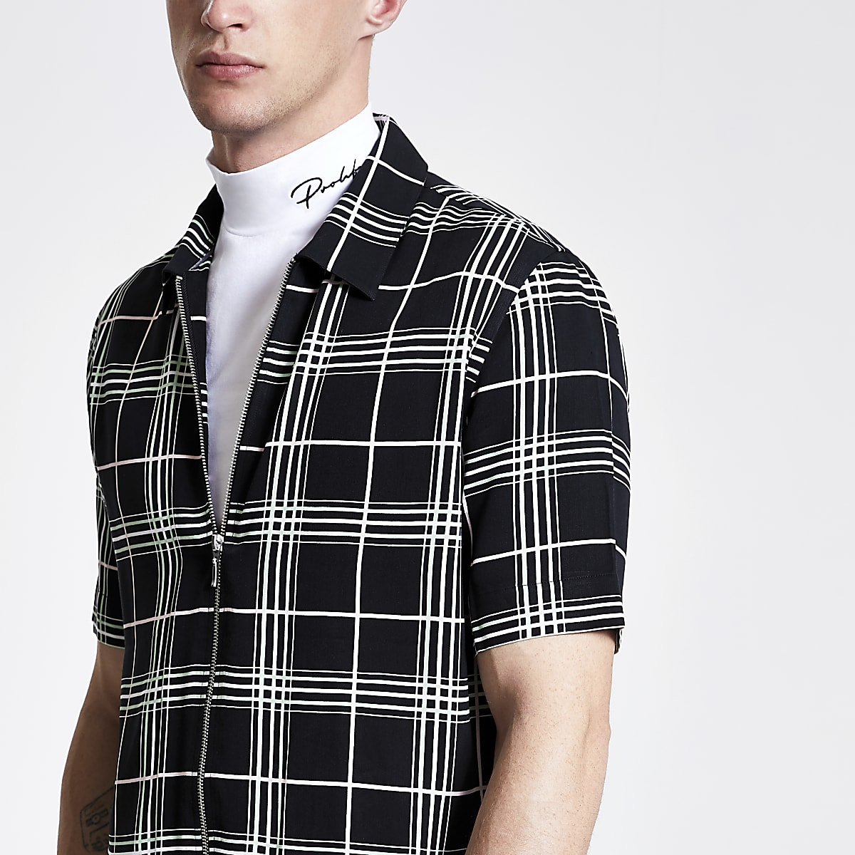 Black neon check zip up short sleeve shirt
