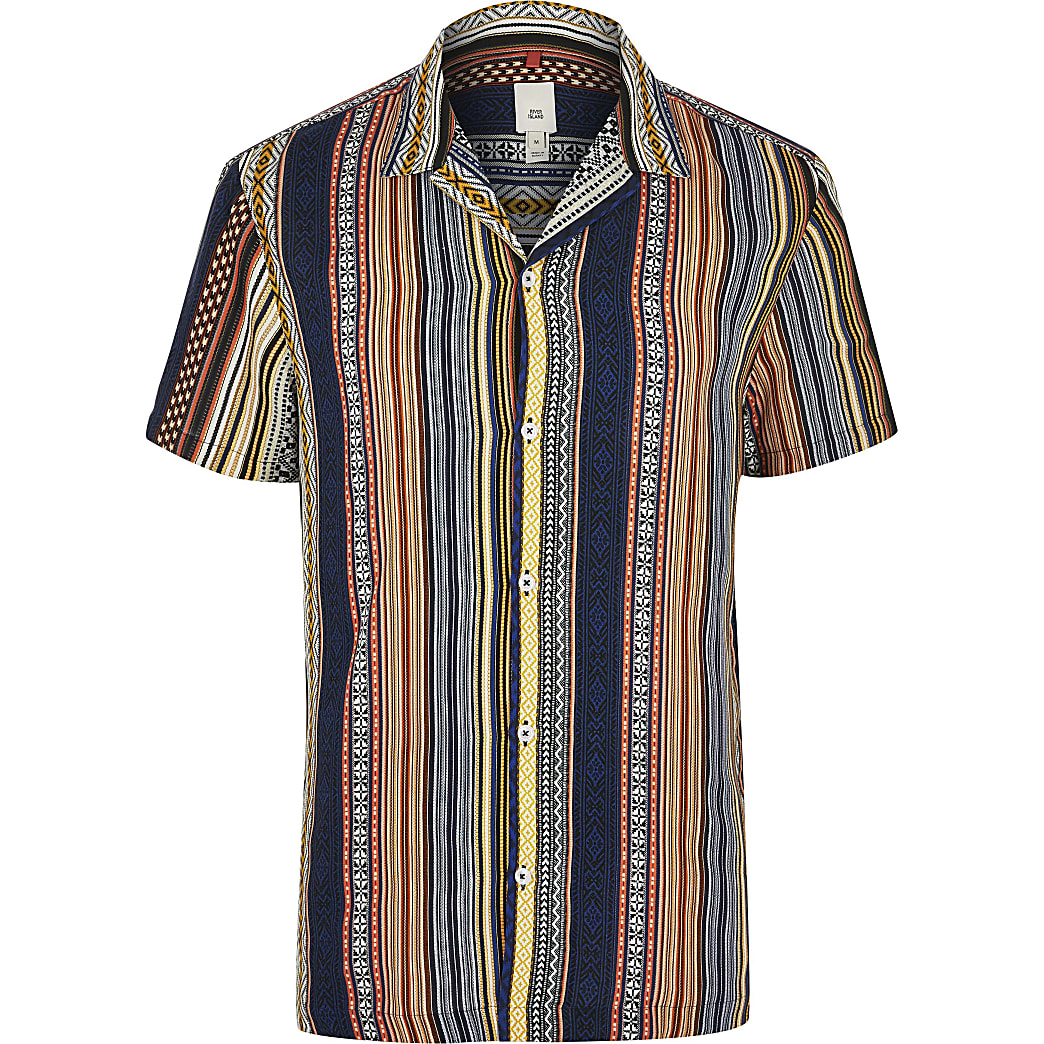 Big and Tall orange aztec shirt