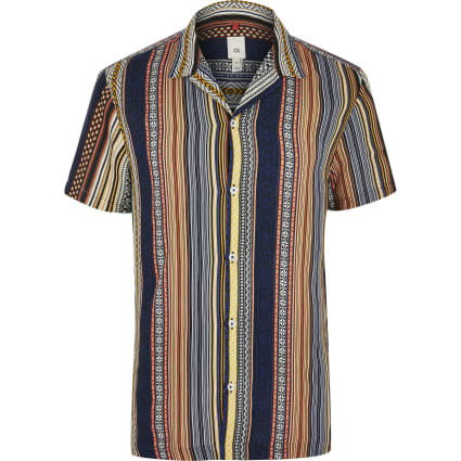 Big and Tall orange aztec shirt