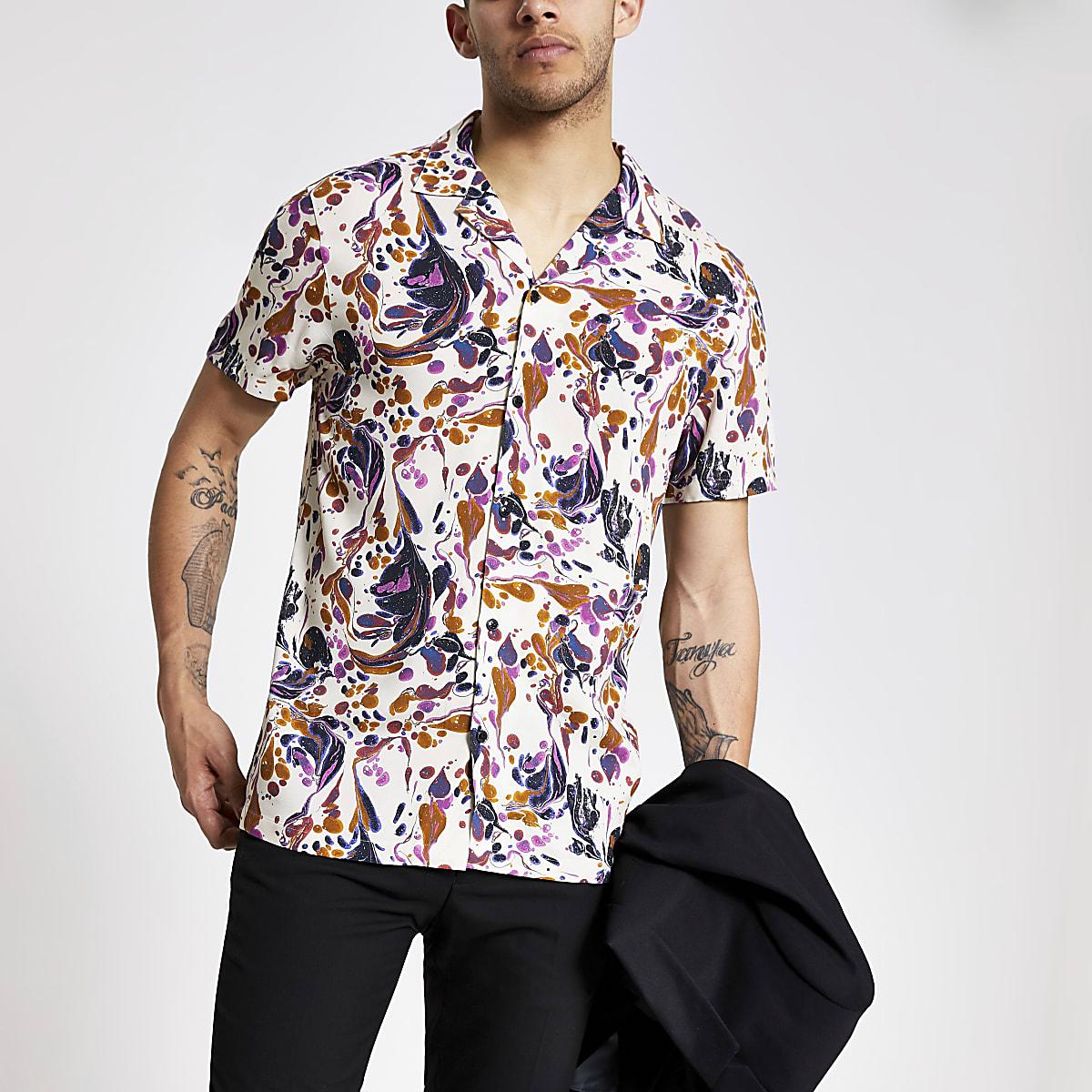 Pink marble short sleeve shirt