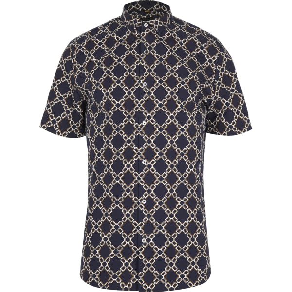 River Island - slim fit hemd mit print - 5