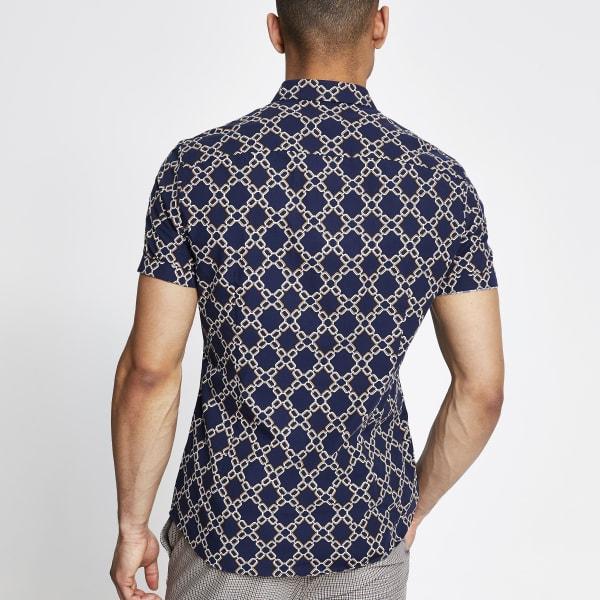 River Island - slim fit hemd mit print - 3