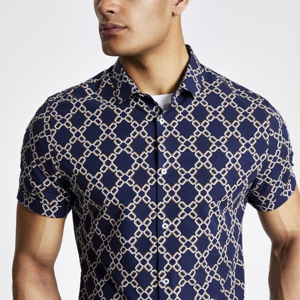 River Island - slim fit hemd mit print - 2