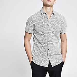 White RI monogram slim fit shirt