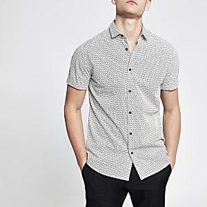 Wit slim-fit T-shirt met RI-monogram