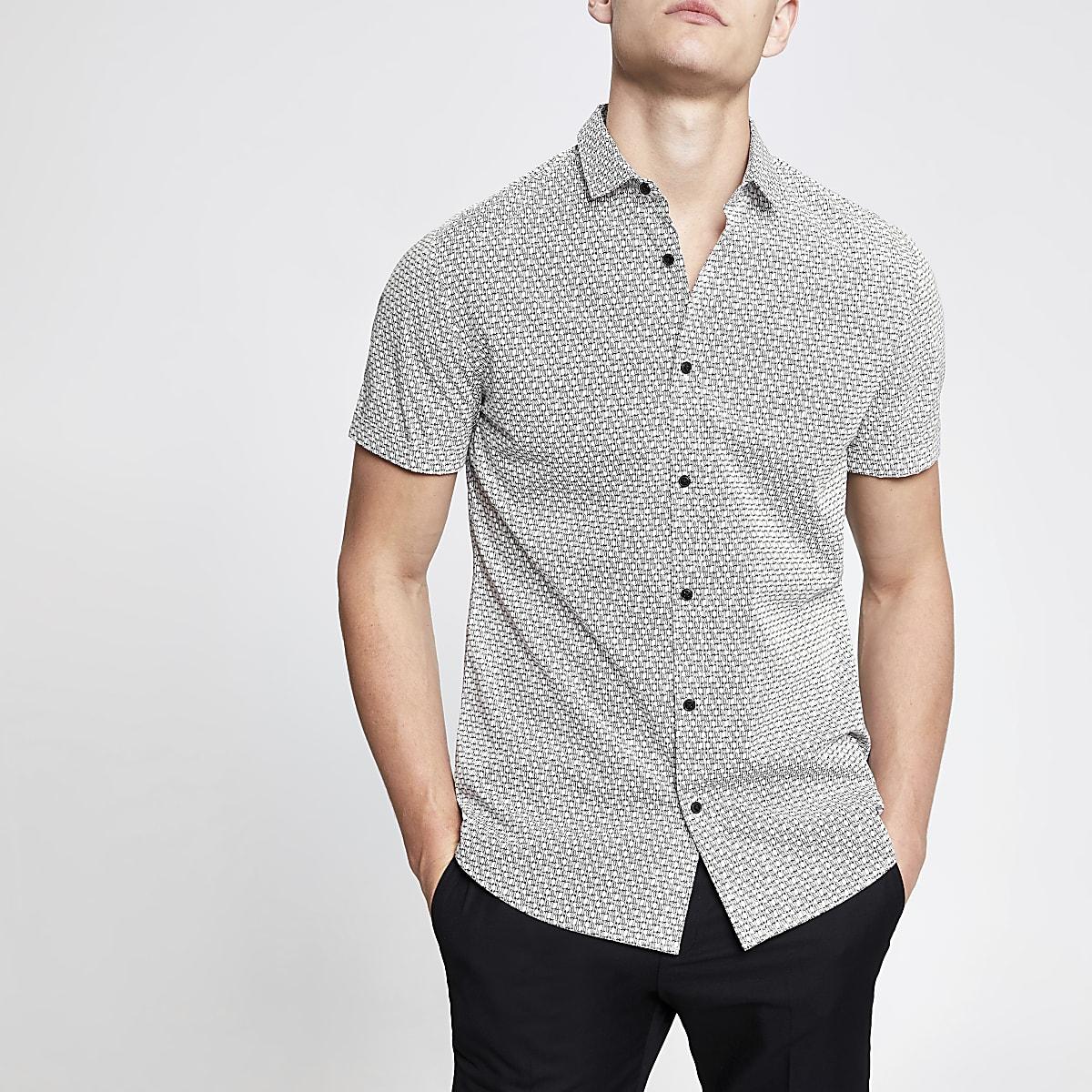 Wit overhemd met RI-monogram en korte mouwen