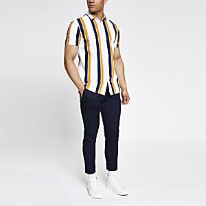 Wit gestreept slim-fit poplin overhemd