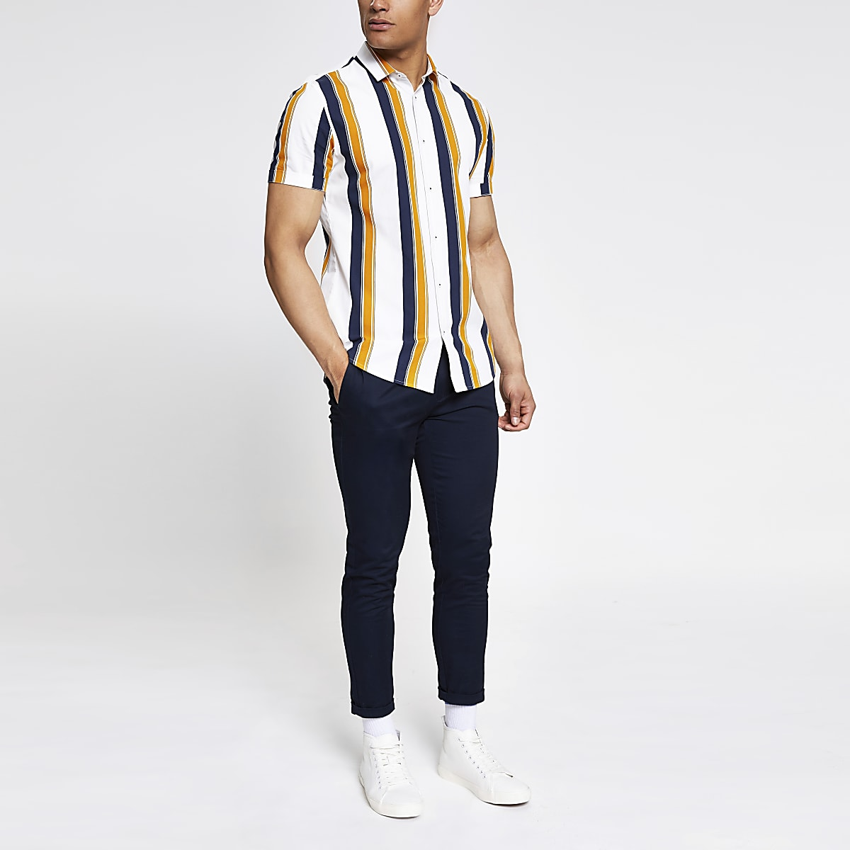 White stripe slim fit poplin shirt