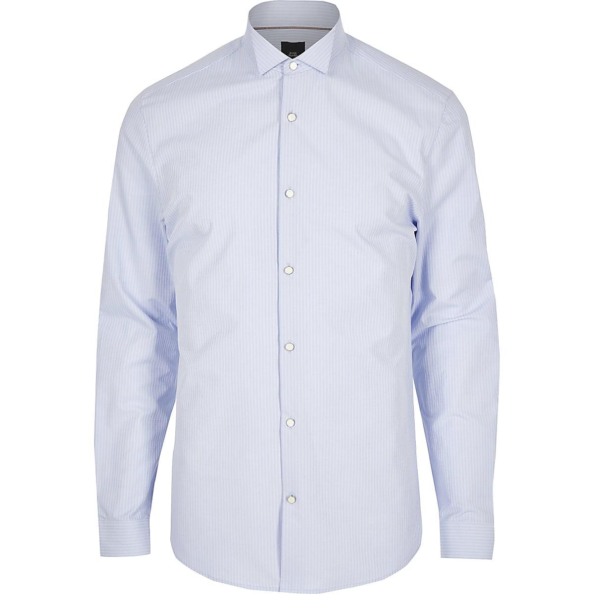 Overhemd Bloemen Boord.Blue Stripe Wing Collar Slim Fit Shirt