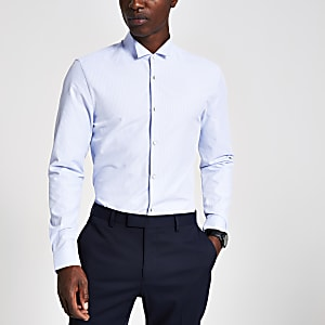 Blue stripe wing collar slim fit shirt