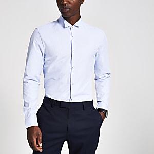 Blauw gestreept slim-fit overhemd met opstaande boord