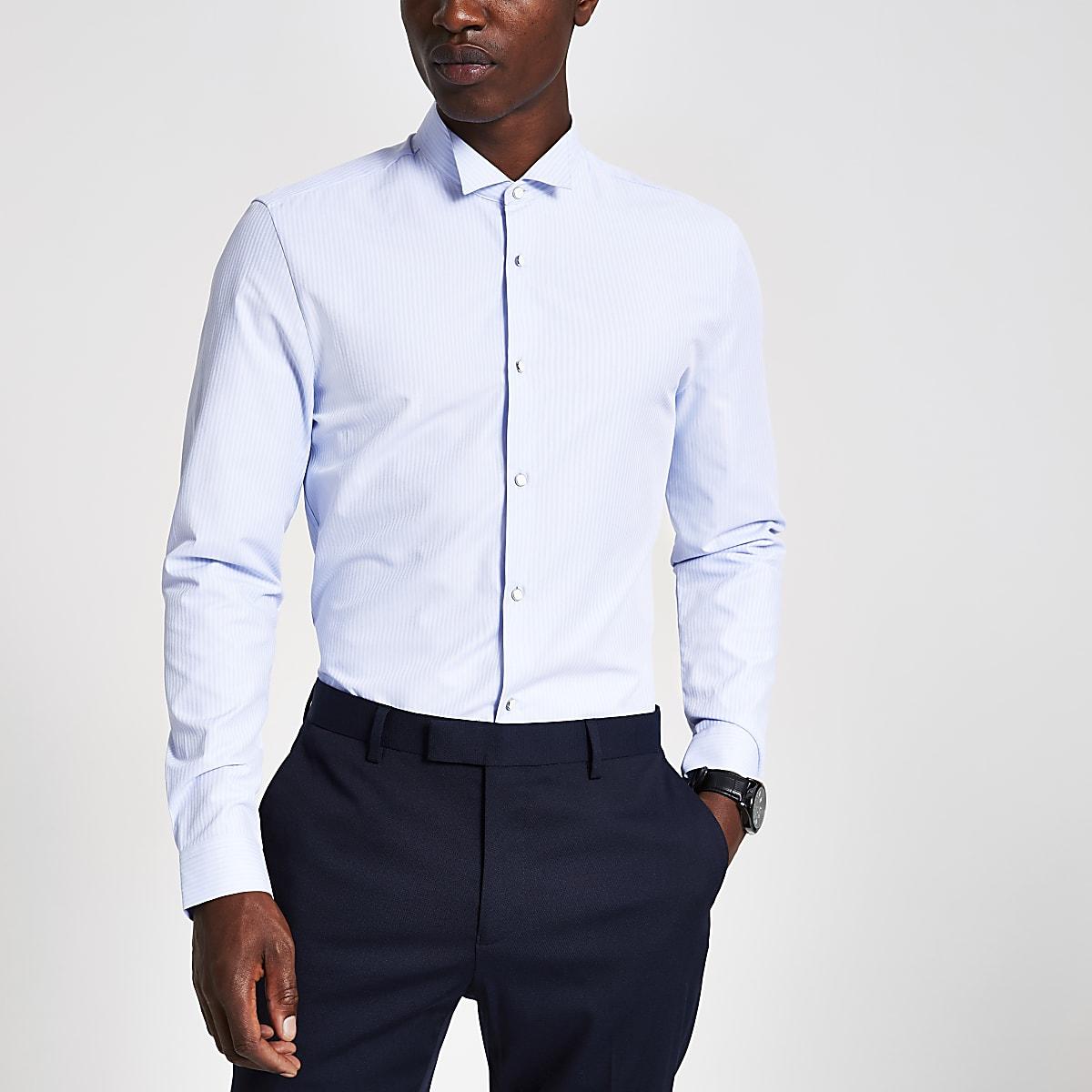 Blauw gestreept overhemd met opstaande boord en lange mouwen