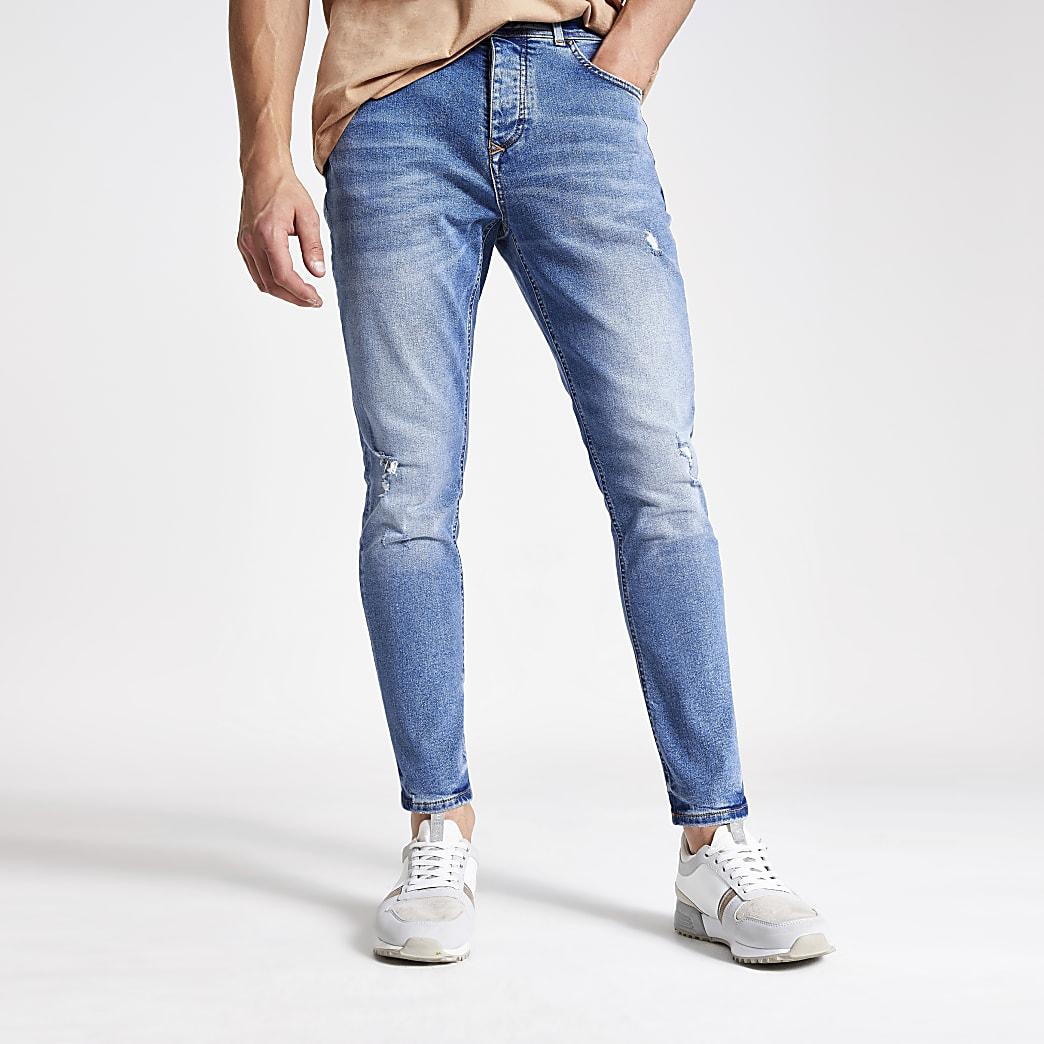 Jimmy – Jean fuselé court bleu moyen