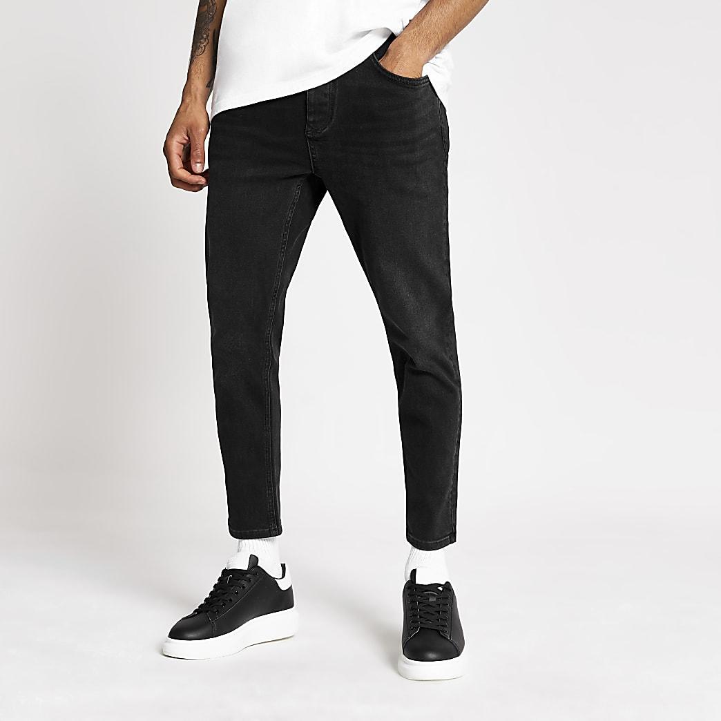 Jimmy - Zwarte wash smaltoelopende cropped jeans