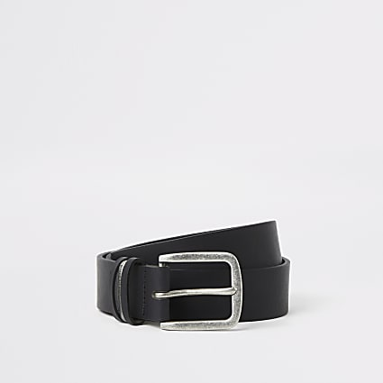 Black leather RI buckle belt