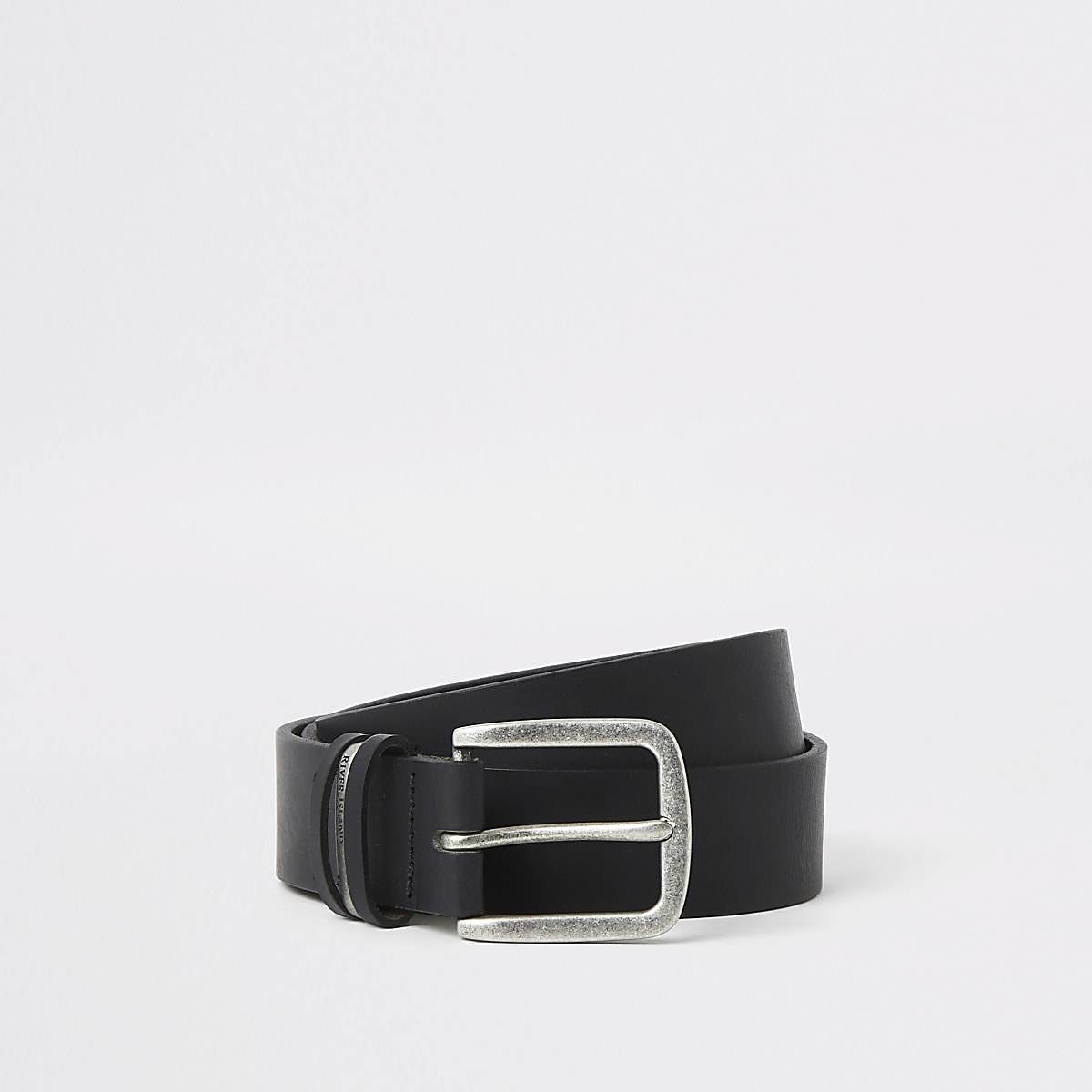Black leather RI buckle belt