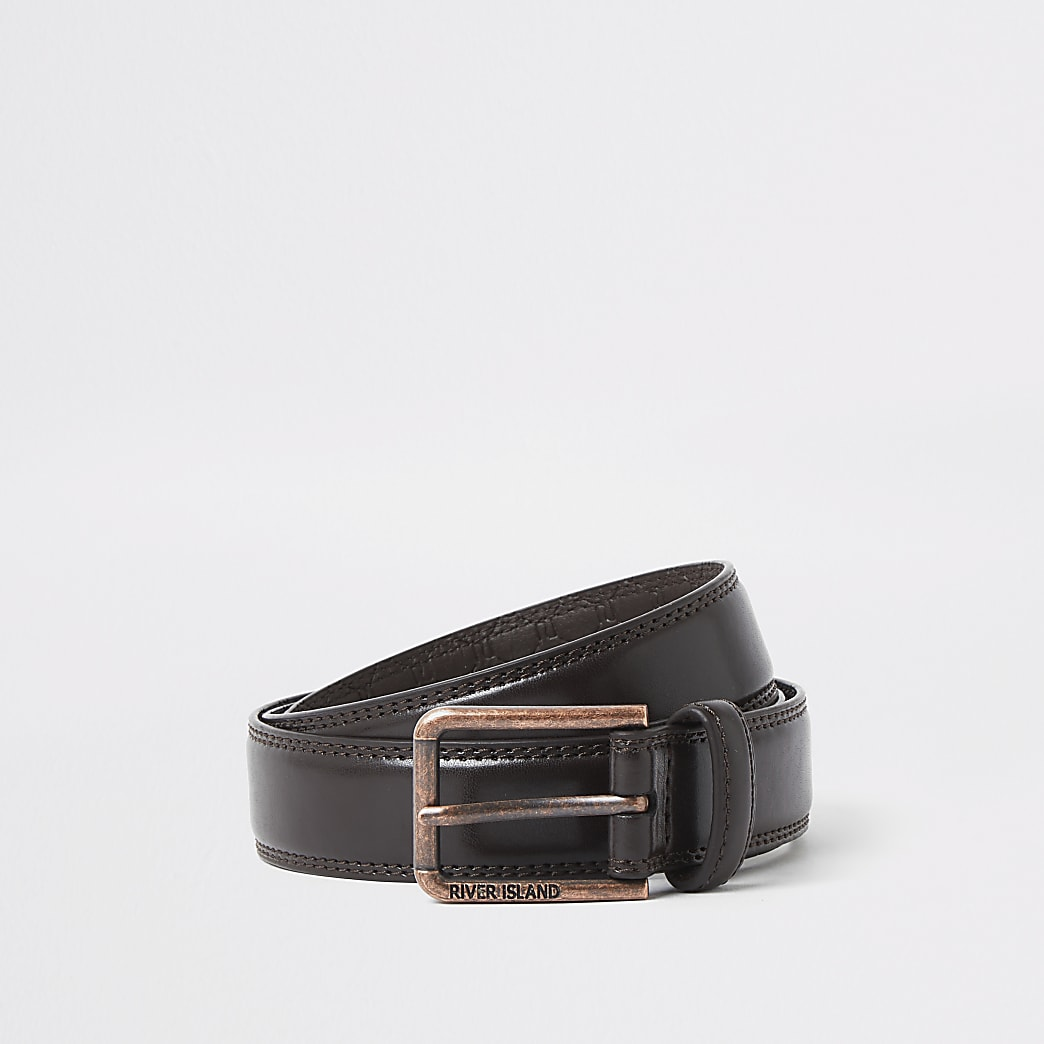 Dark brown rose gold tone buckle belt
