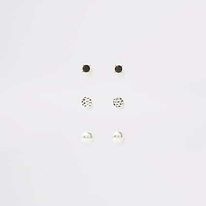 Silver tone mixed design earring multipack