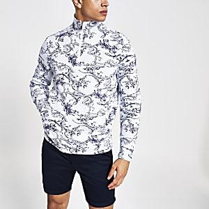 Wit slim-fit sweatshirt met bloemenprint en rits bij de hals