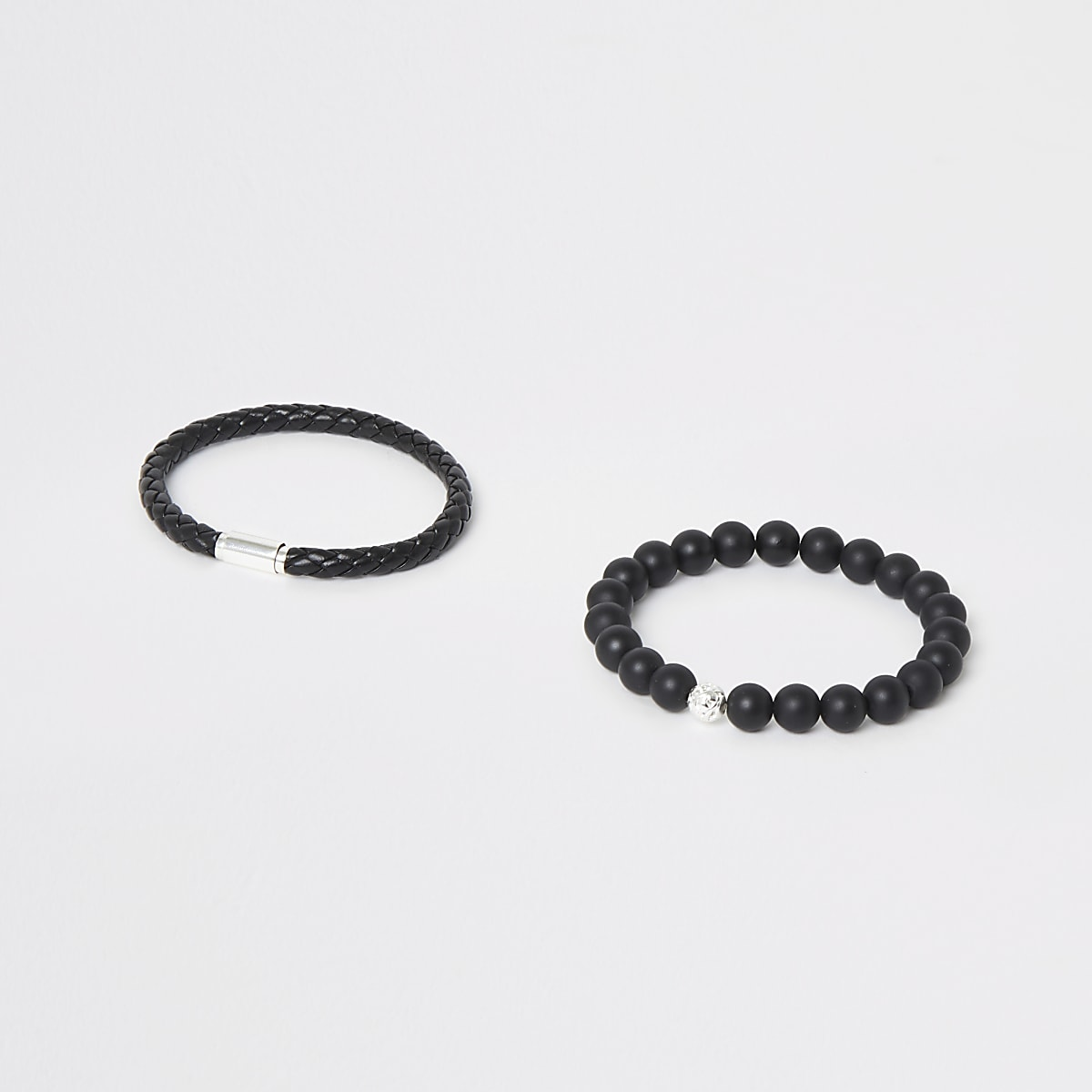 Black bead and rope bracelet 2 pack