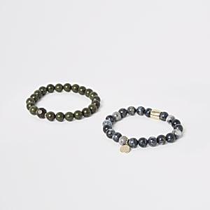 Lot de bracelets à perles vertes et bleues