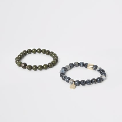 Green and blue bead bracelet pack