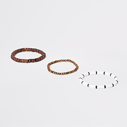 Brown wooden bracelet multipack