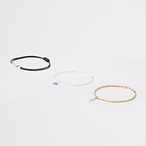 Silver and gold tone charm bracelet 3 pack
