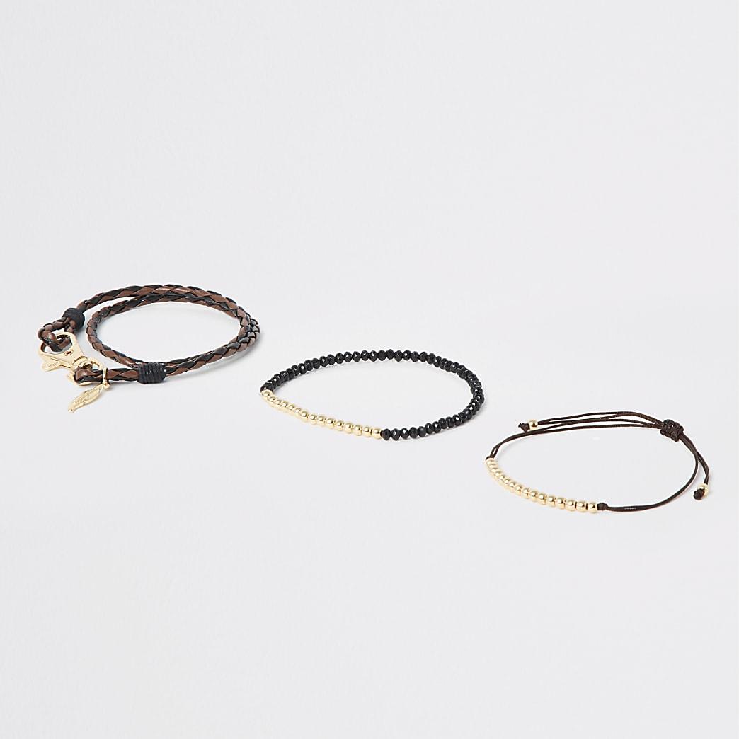 Lot de 3 bracelets marron foncé à breloques