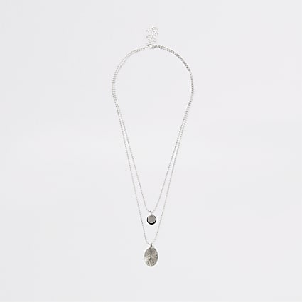 Silver colour layered necklace