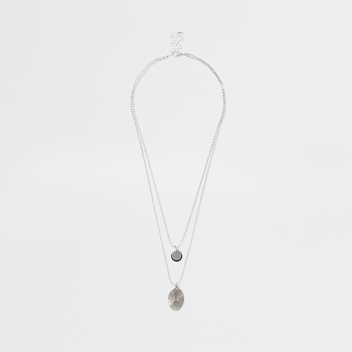 Silver color layered necklace