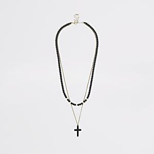 Zwarte kralenketting met kruis