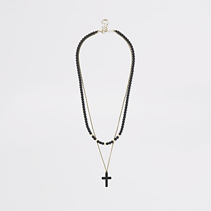 Black cross bead necklace