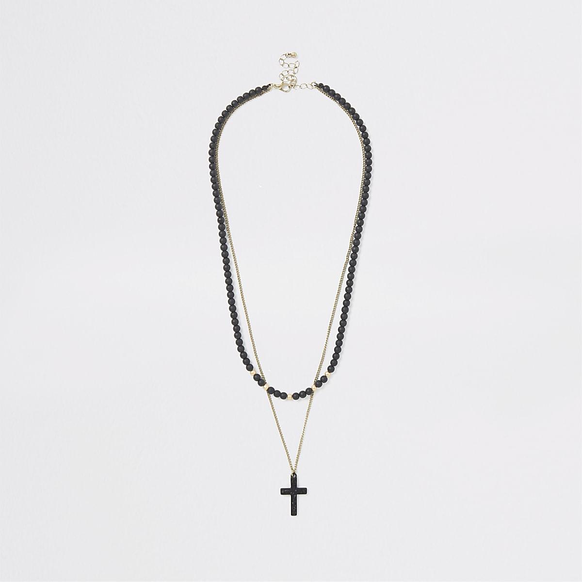 Collier avec croix et perles noires