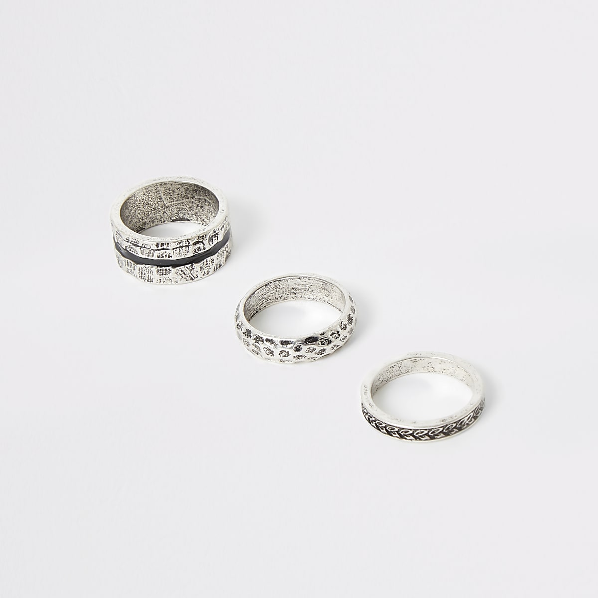 Silver color textured ring 3 pack