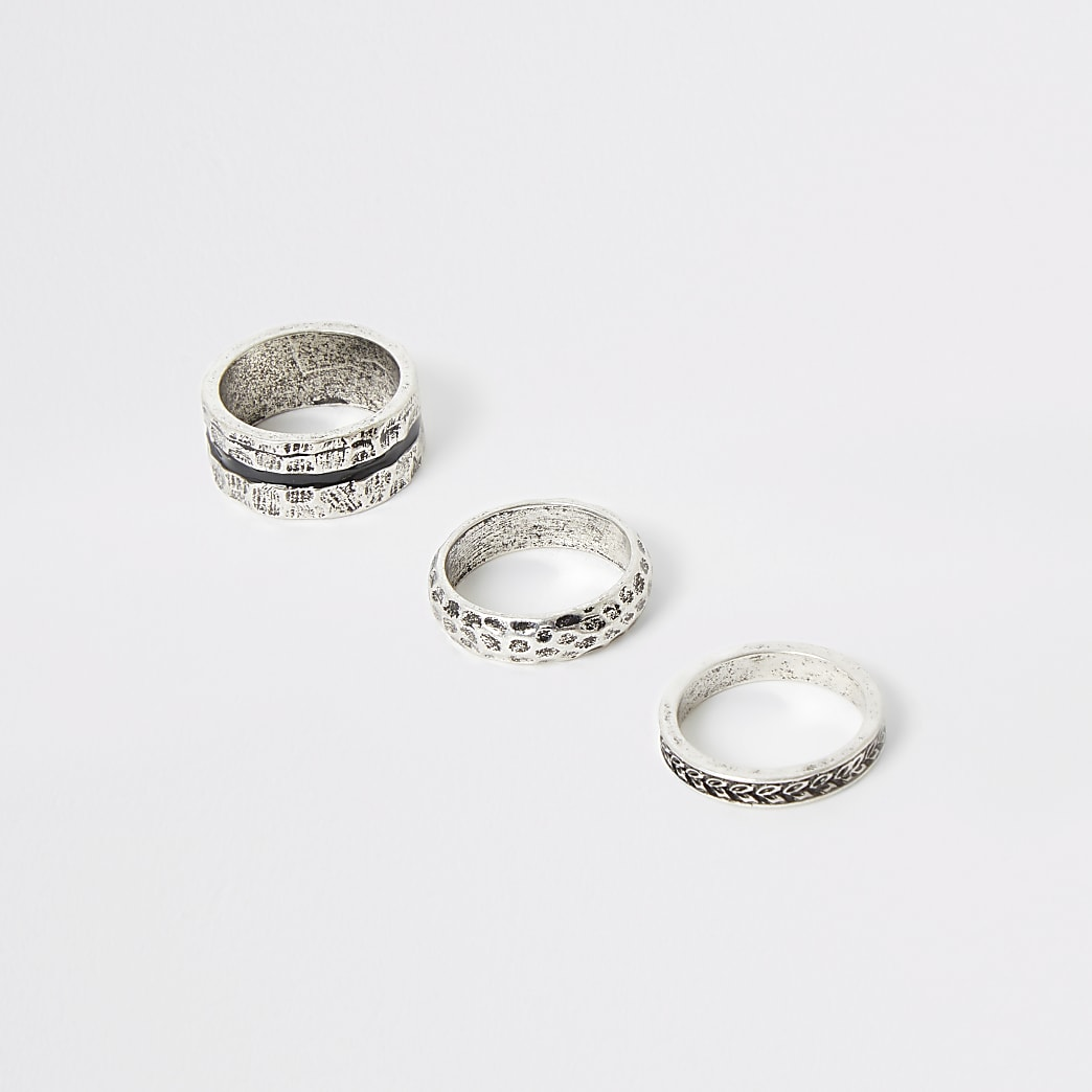 Silver colour textured ring 3 pack