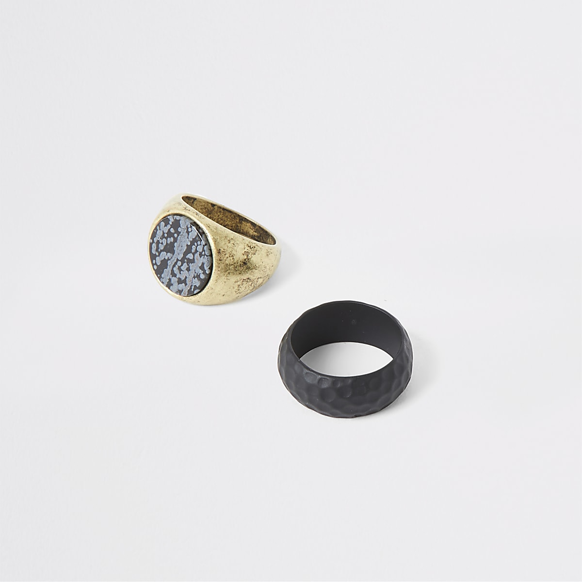 Gold tone marble ring 2 pack