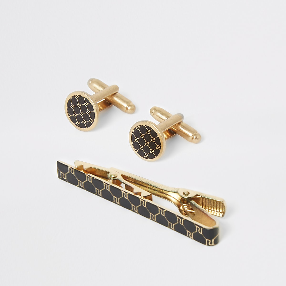 Gold tone RI print cufflinks and tie bar set