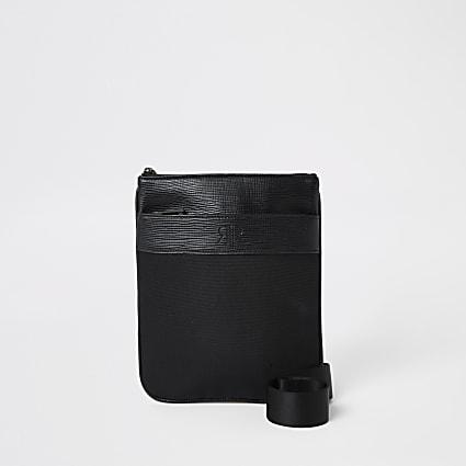 Black RI cross body flight bag