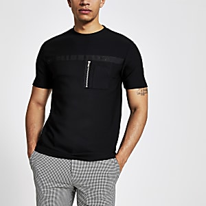 Schwarzes Slim Fit T-Shirt im Utility-Look