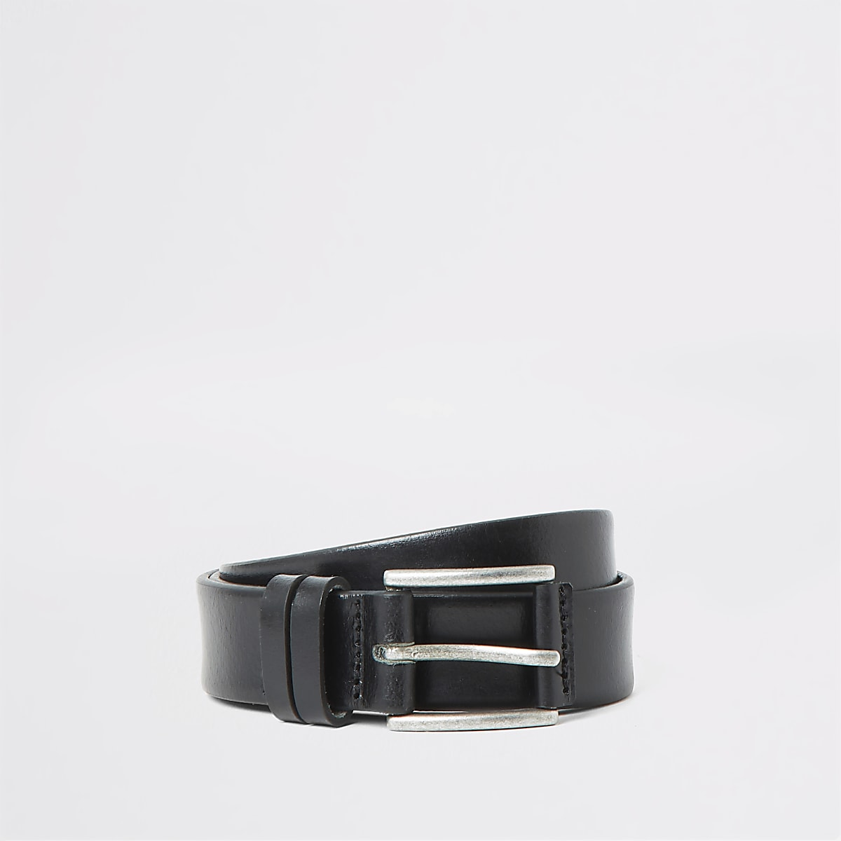 Black leather buckle belt