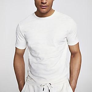 T-shirt slim texturé motif camouflage écru